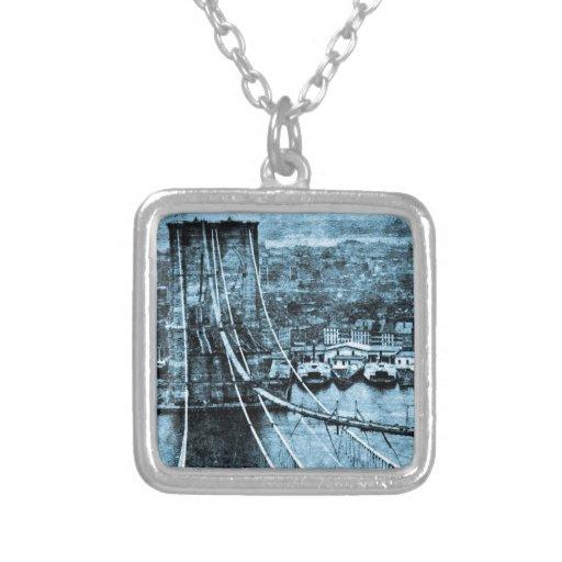 1870s Construction of  Brooklyn Bridge New York Necklaces
