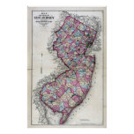 1872 Map of New Jersey Poster