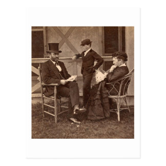 1872 President Grant with Family at Cottage Postcard