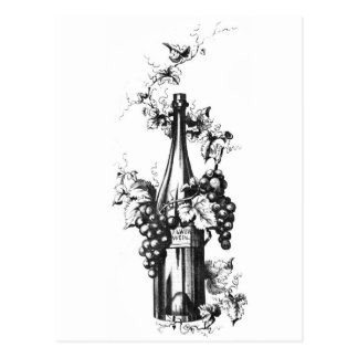 1873 Vintage Wine Bottle with Grapes and Leaves Postcard