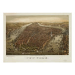 1874 New York City NY Birds Eye View Panoramic Map Poster