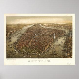 1874 New York City NY Birds Eye View Panoramic Map Poster