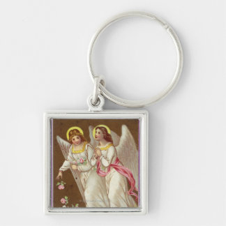 1875: A Victorian greetings card Silver-Colored Square Key Ring