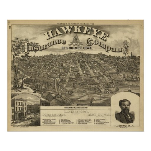 1875 Des Moines, IA Birds Eye View Panoramic Map Poster
