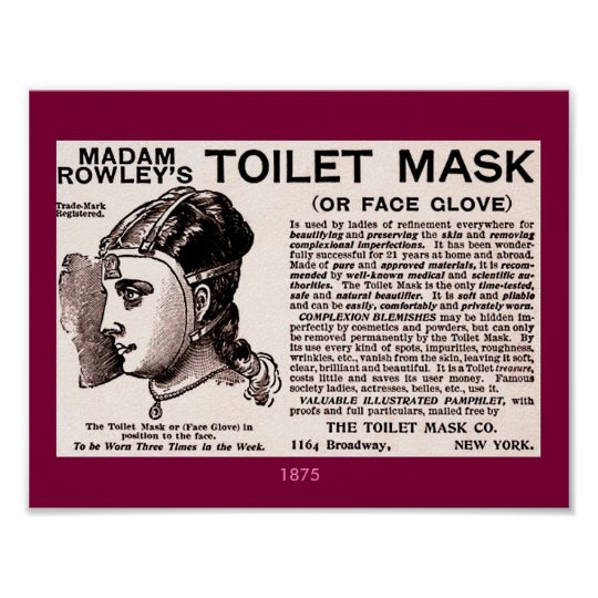 1875 Vintage Beauty Aid: Toilet Mask or Face