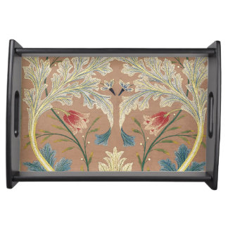 1875 Vintage William Morris Floral Embroidery Serving Tray