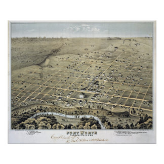 1876 Map of Fort Worth, TX Birds Eye View Poster