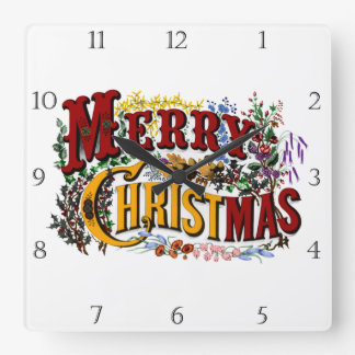 1876 Merry Christmas Square Wall Clock