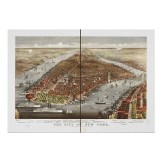 1876 New York City NY Birds Eye View Panoramic Map Poster