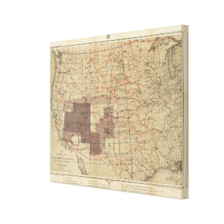 1876 Progress Map of The US Geographical Surveys Canvas Print