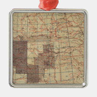 1876 Progress Map of The US Geographical Surveys Silver-Colored Square Decoration