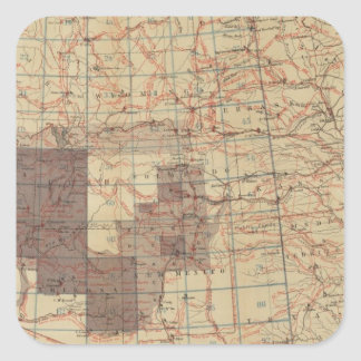 1876 Progress Map of The US Geographical Surveys Square Sticker