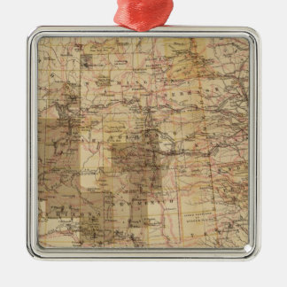 1878 Progress Map of The US Geographical Surveys 2 Silver-Colored Square Decoration