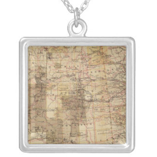1878 Progress Map of The US Geographical Surveys 2 Silver Plated Necklace