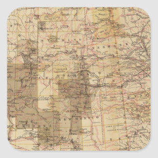 1878 Progress Map of The US Geographical Surveys 2 Square Sticker
