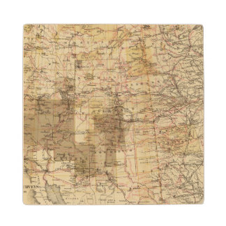 1878 Progress Map of The US Geographical Surveys 2 Wood Coaster