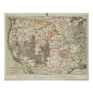 1878 Progress Map of The US Geographical Surveys Poster