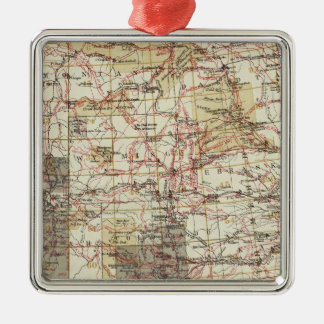 1878 Progress Map of The US Geographical Surveys Silver-Colored Square Decoration