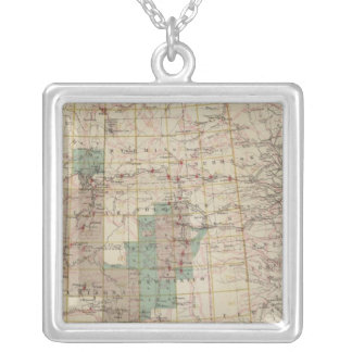 1878 Progress Map of The US Geographical Surveys Silver Plated Necklace
