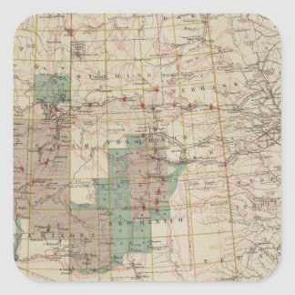1878 Progress Map of The US Geographical Surveys Square Sticker