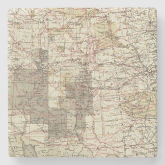 1878 Progress Map of The US Geographical Surveys Stone Coaster
