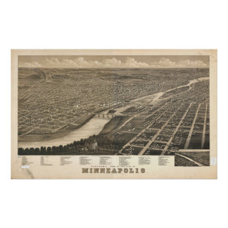 1879 Minneapolis, MN Birds Eye View Panoramic Map Posters
