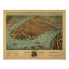 1879 New York City NY Birds Eye View Panoramic Map Poster