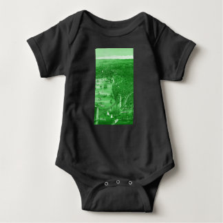 1879 Vintage Brooklyn Map Baby Bodysuit in Green