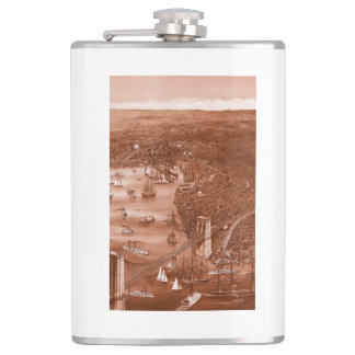 1879 Vintage Brooklyn Map Flask in Orange