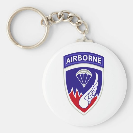 187th Airborne Division Basic Round Button Key Ring