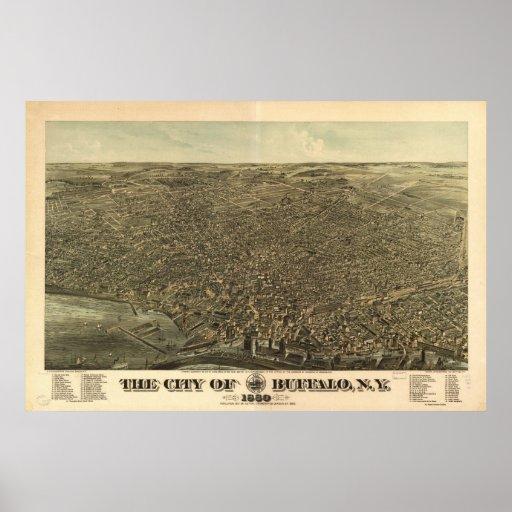 1880 Buffalo, NY Birds Eye View Panoramic Map Poster