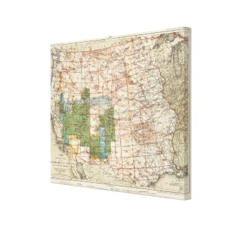 1880 Progress Map of The US Geographical Surveys Canvas Print