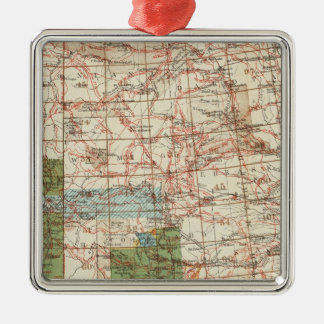 1880 Progress Map of The US Geographical Surveys Silver-Colored Square Decoration