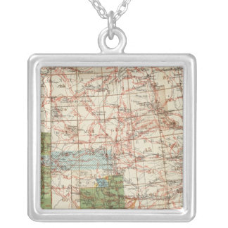 1880 Progress Map of The US Geographical Surveys Silver Plated Necklace