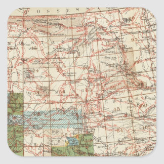 1880 Progress Map of The US Geographical Surveys Square Sticker