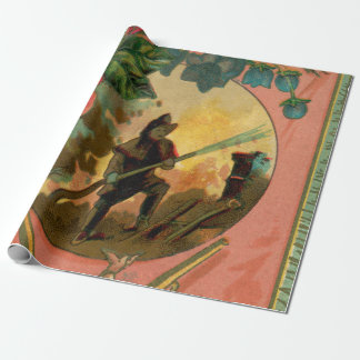 1880s Fireman Firefighter Wrapping paper