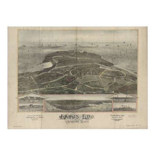 1880s Lands End Rockport MA Birdseye Panoramic Map Posters