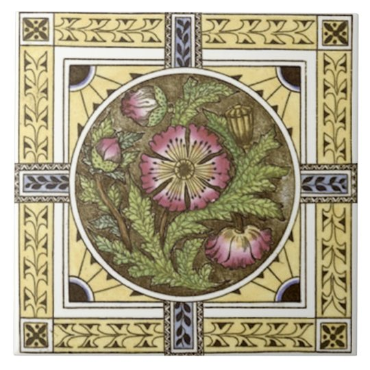 1880s Yellow Rose Multi Transferware Tile Repro