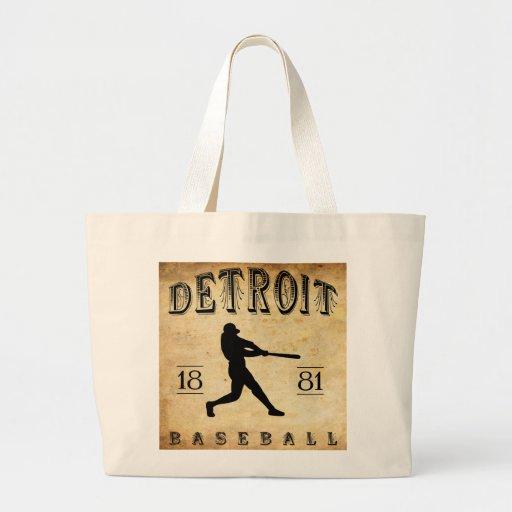 1881 Detroit Michigan Baseball Canvas Bag