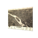1882 Bird's Eye View Map of Aurora Illinois Stretched Canvas Print