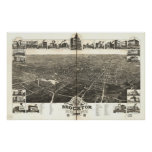 1882 Brockton, MA Birds Eye View Panoramic Map Poster