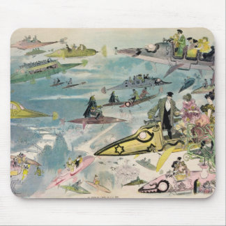 1882 Futuristic View of Air Travel Over Paris Mouse Pad