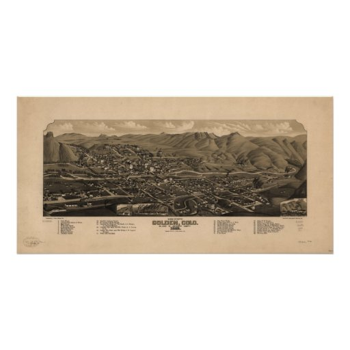 1882  Golden CO Birds Eye View Panoramic Map Poster