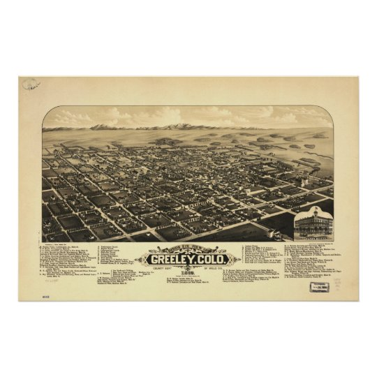 1882 Greeley, CO Birds Eye View Panoramic Map Poster