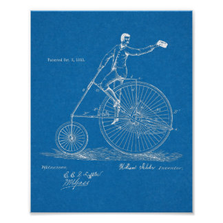 1883 High Wheeler Bicycle Design Patent Art Print
