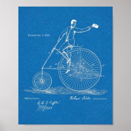 1883 High Wheeler Bicycle Design Patent Art Print