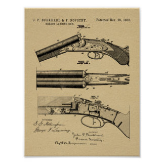 1883 Shotgun Patent Art Drawing Print