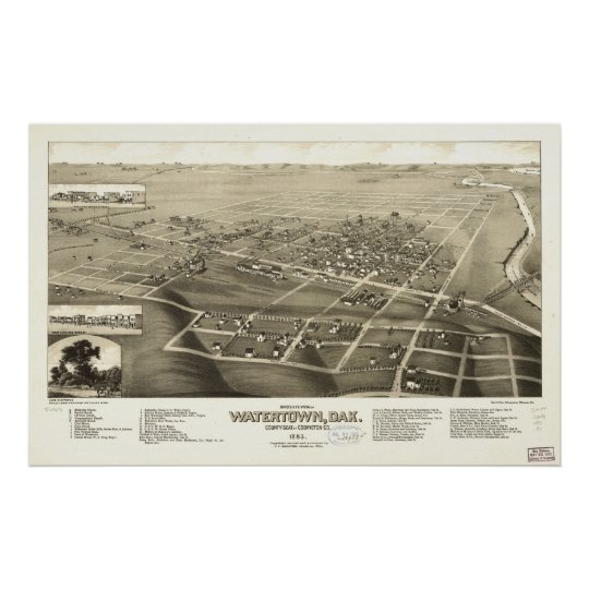 1883 Watertown, SD Birds Eye View Panoramic Map Poster