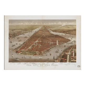 1884 New York City NY Birds Eye View Panoramic Map Poster