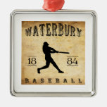 1884 Waterbury Connecticut Baseball Silver-Colored Square Decoration